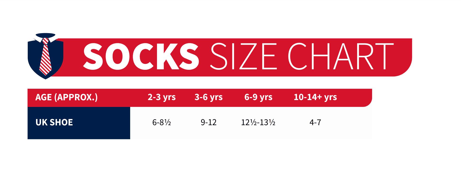 socks size chart