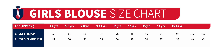 girls blouse size chart