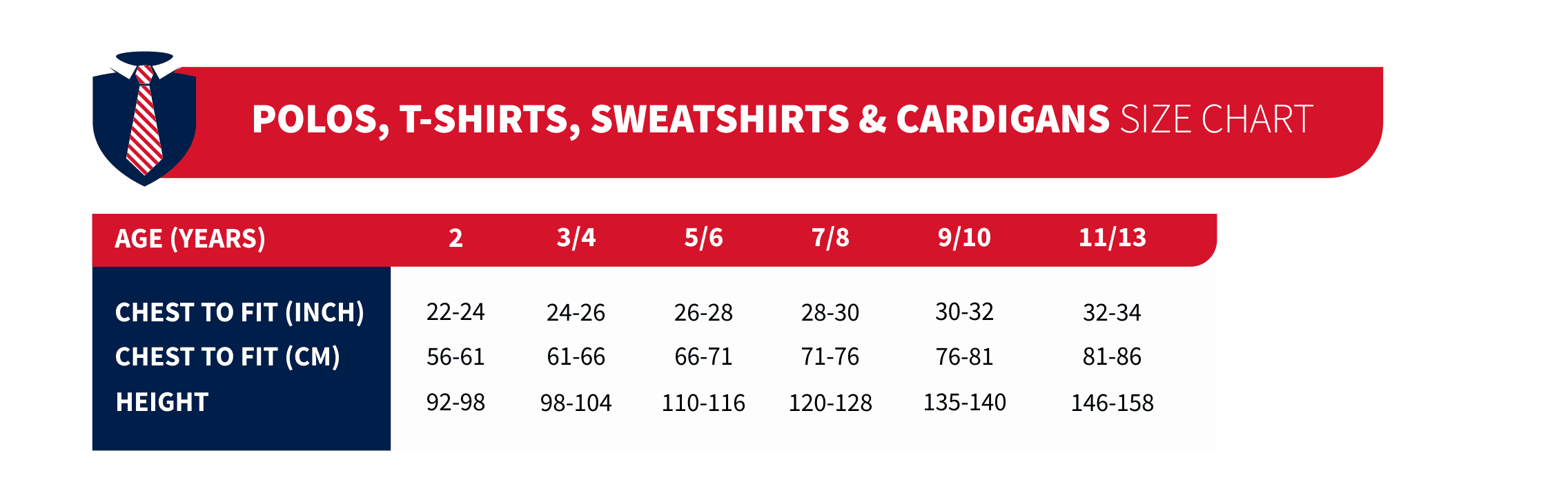 polo's tshirts sweatshirts and cardigan's size chart