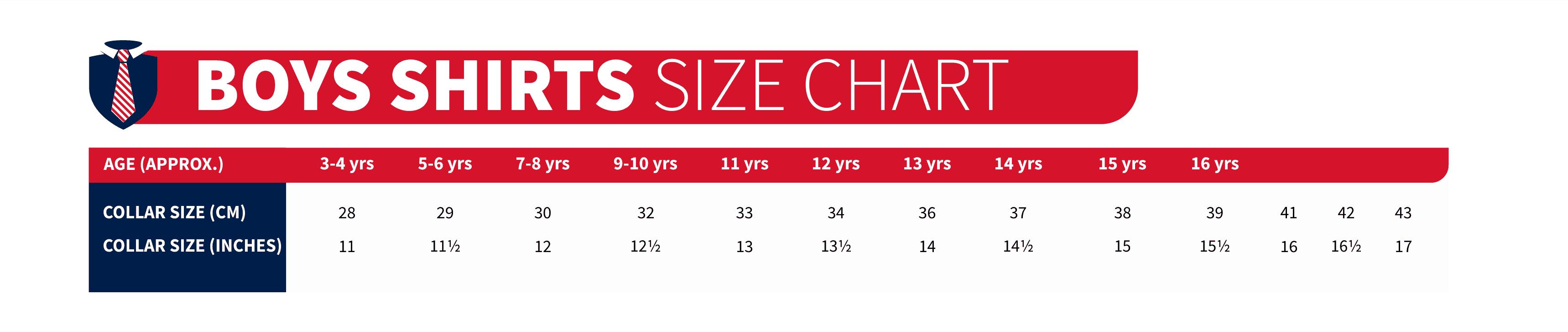 boys shirts size charts