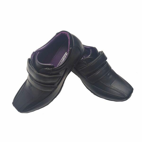 Boys Black School Shoes BOWIE Velcro Strap School Uniform