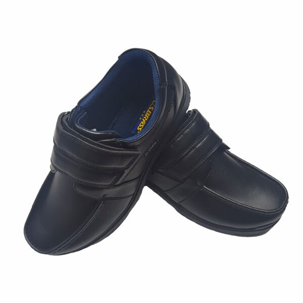 Boys Black School Shoes VICTOR Velcro Strap School Uniform