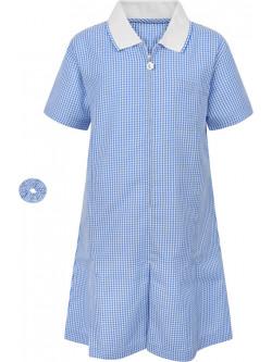 Girls Blue Gingham Summer Dress