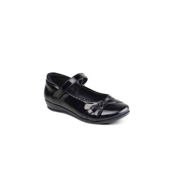 Girls Black School Shoes DRIZZLE 2 Velcro Strap School Uniform