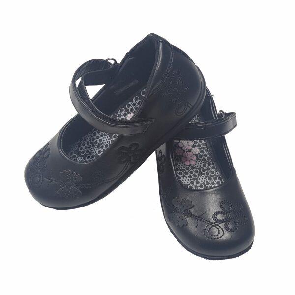 Girls Black School Shoes Primrose Velcro strap School Uniform