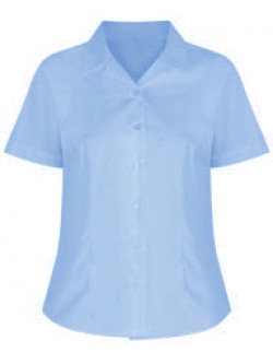 Girls Short Sleeve Rever Collar Non-Iron Blouse (Twin Pack)