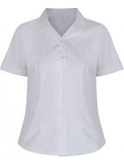Girls White Short Sleeve Rever Collar Non-Iron Blouse (Twin Pack)