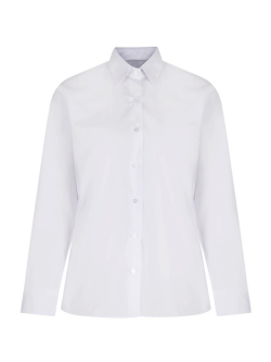 Girls White Long Sleeve Non-Iron Blouse (Twin Pack)