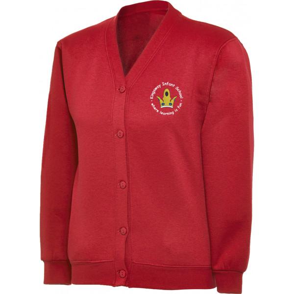 Kingsway Infant School Logo KIS Red sweatshirt cardigan girls Uniform