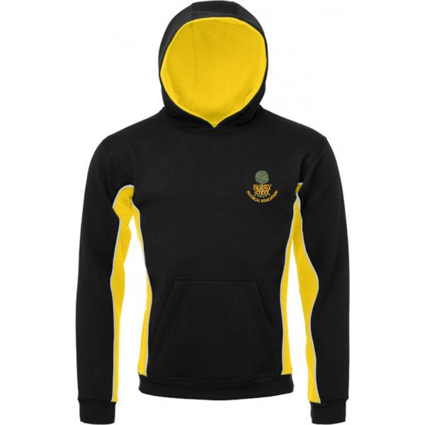 Bushey Meads School Logo BMS Black Yellow PE Hoodie Boys Girls Unisex Uniform