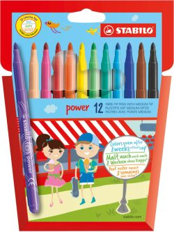 Power Fibre Tip Colouring Pen (Pack of 12)