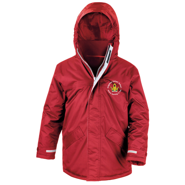 Kingsway Infant School Winter Parka jacket logo red girls boys unisex school uniform