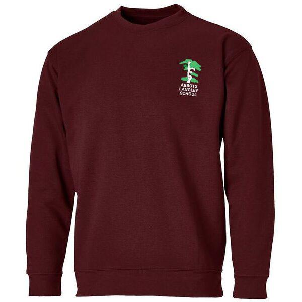 Abbots Langley Primary School Logo Burgundy Sweatshirt Boys Uniform