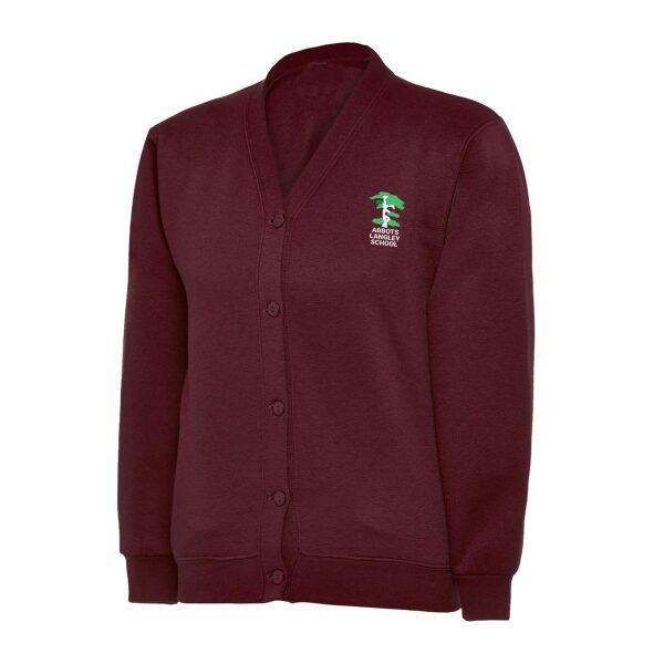 Abbots Langley Primary School Logo Burgundy Sweatshirt Cardigan Girls Uniform