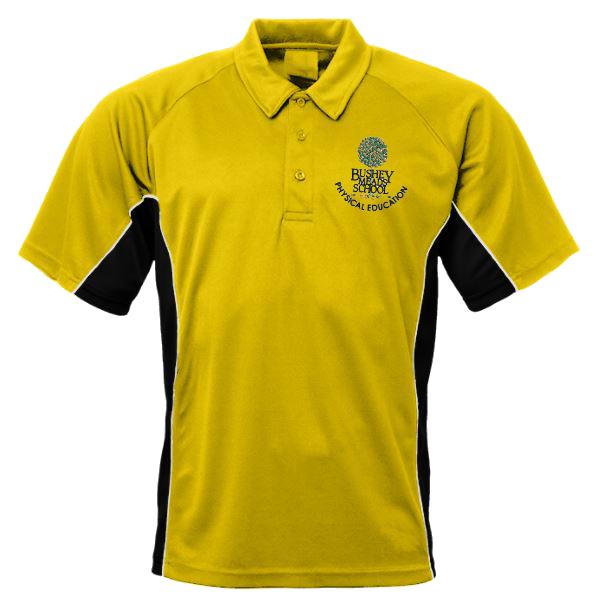 bushey meads school BMS P.E Poli tshirt new witj logo yellow and black