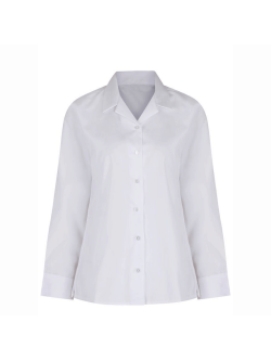 Girls Long Sleeve Rever Collar Non-Iron Blouse (Twin Pack)